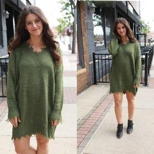 Olive Fringe Sweater Dress